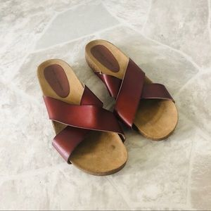 ROCK & CANDY brown leather slides shoes size 9
